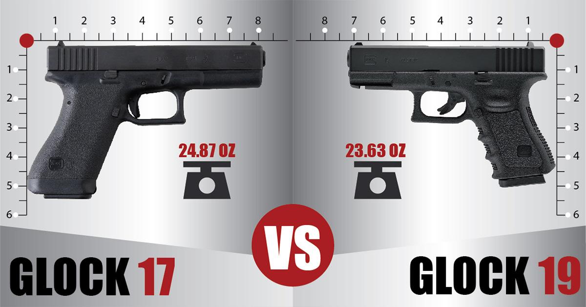 Glock 17 vs Glock 19 Side by Side Comparison